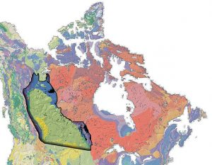 Western Canadian Sedimentary Basin (outlined in black) on a geological map of Canada. / Wikimedia Commons
