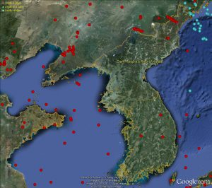 Map showing earthquakes in North Korea since 2005/ CTBTO on Flickr