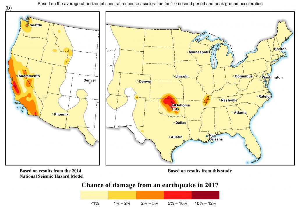 Chance of damage from an earthquake in 2017. Hazard for the western United States from the 2014 National Seismic Hazard Maps is shown for comparison.