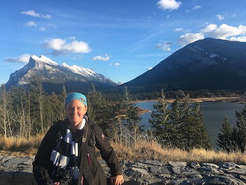 Rachel Hatch in front of Mount Rundle in Banff.