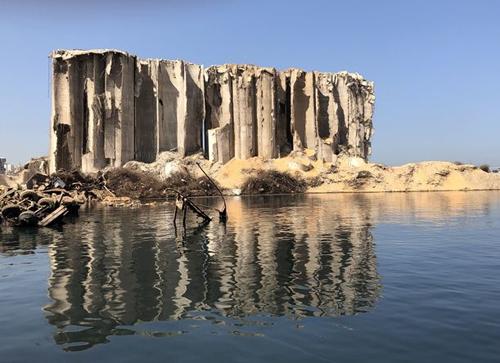 Explosion-damaged silos in Beirut port.